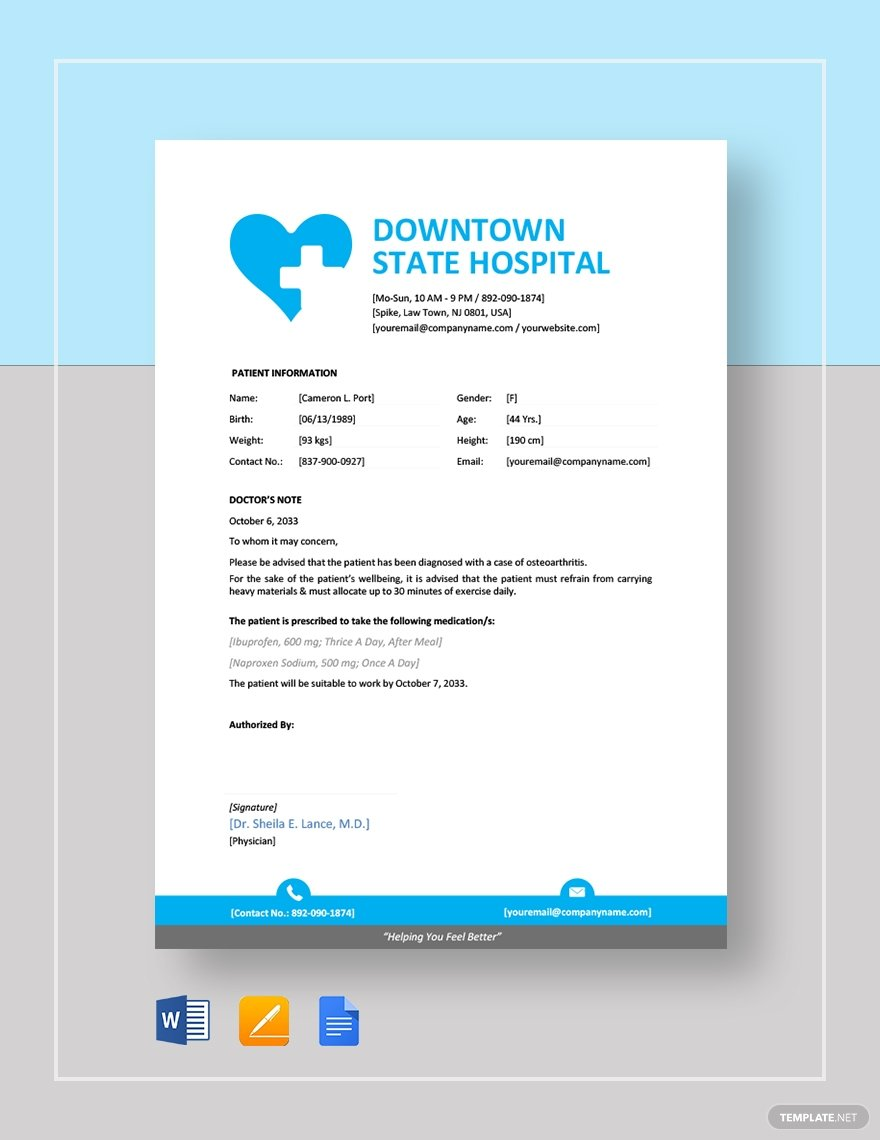 45+ Best Doctor Note Templates and Certificates in 2020: Free and Premium - image3 2