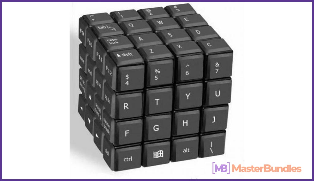 Rubik's cube, but instead of colors keyboard.