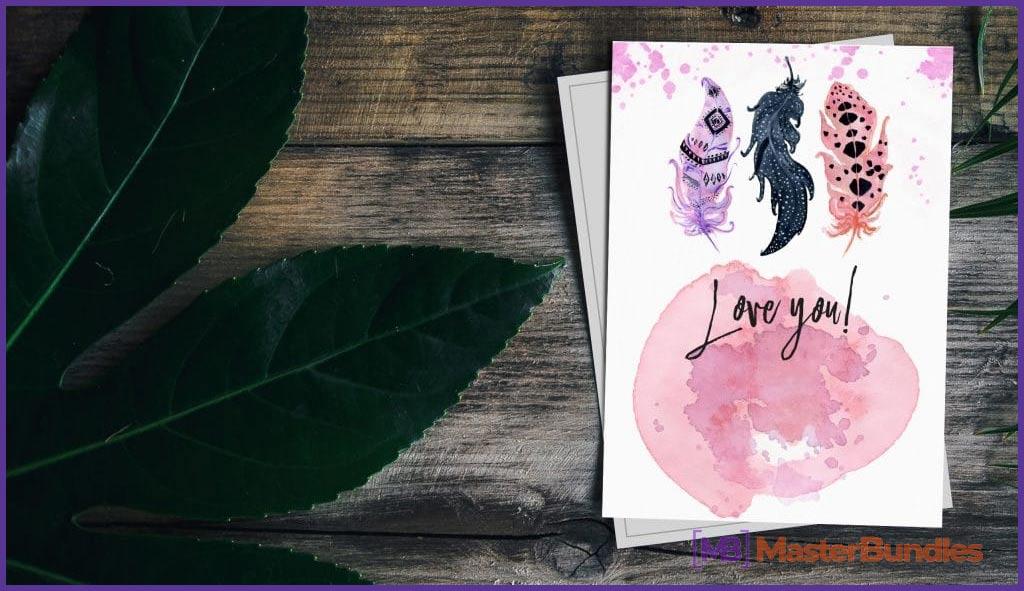 Love You Boho Watercolor Postcard