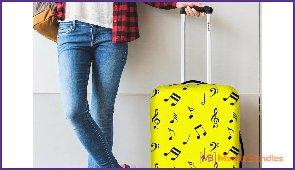 Musical Notes Luggage. Gifts for Musicians
