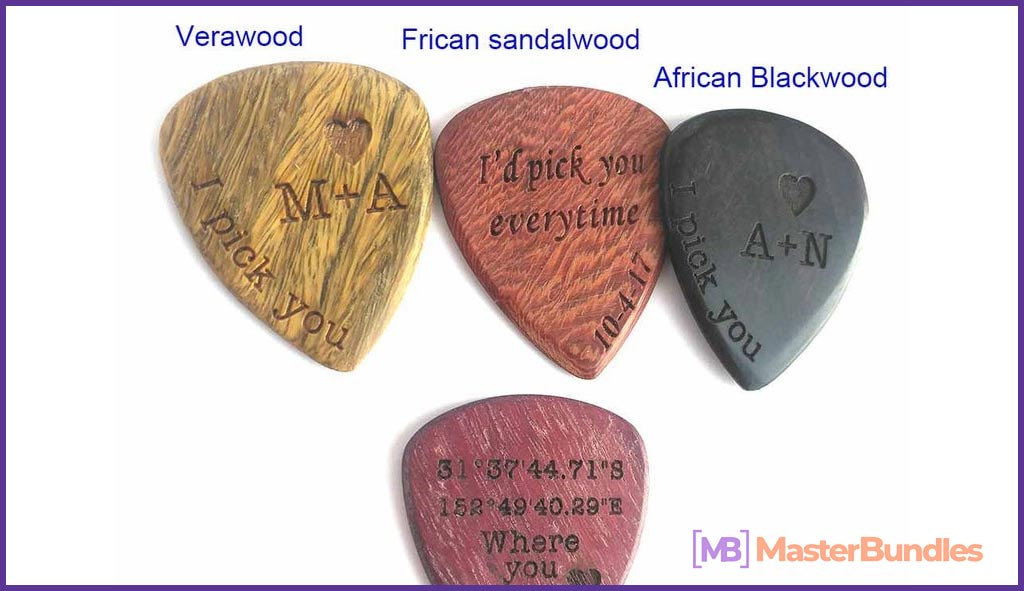 Personalized Custom Engraved Wood Guitar Pick