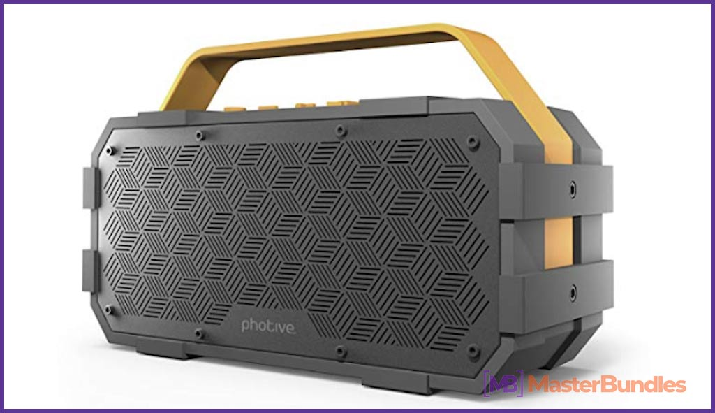 Photive M90 Portable Waterproof Bluetooth Speaker with Built-In Subwoofer