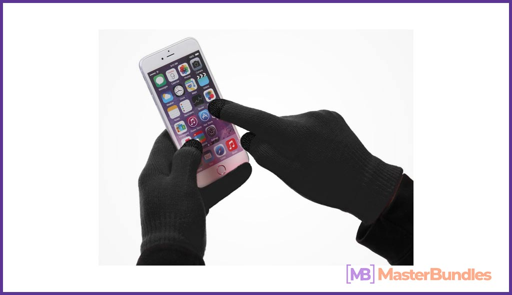 Black gloves that will give not only warmth, but also the ability to work with the touch screen in the cold.
