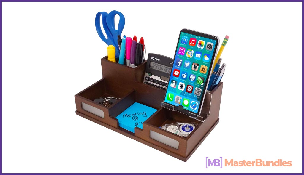 Victor All-in-One Desk Organizer with Smart Phone Holder