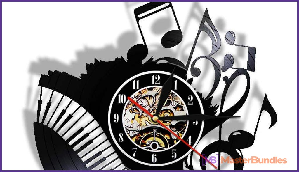 Wall Clock Piano Keyboard. Gifts for Musicians
