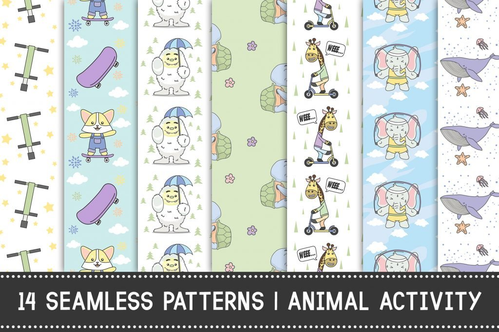 14 Seamless Pattern | Animal Activity -  $9 - Preview1
