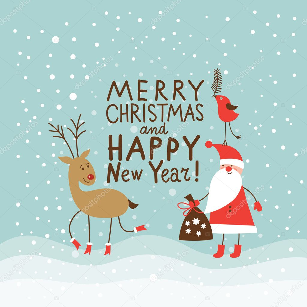 600+ Best Free Merry Christmas Images & New Year Pictures 2021 - depositphotos 14965077 stock illustration greeting christmas and new year