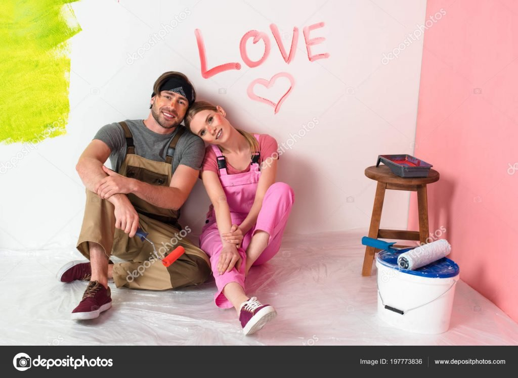 St. Valentines Day Stock Photos & Images. Photo Deal: 100 Royalty-free Photos & Vectors – $69! - depositphotos 197773836 stock photo young couple working overalls sitting