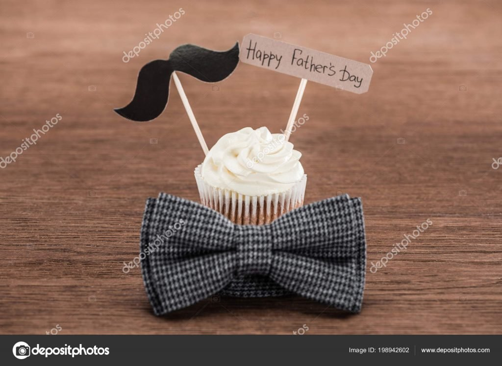 130+ Best Free Happy Fathers Day Graphics 2020: Images, Clipart, Fonts - depositphotos 198942602 stock photo tasty cupcake mustache sign bowtie