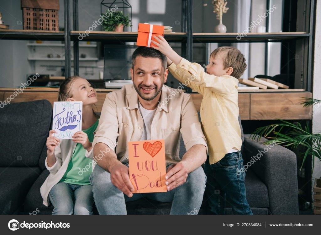 130+ Best Free Happy Fathers Day Graphics 2020: Images, Clipart, Fonts - depositphotos 270834084 stock photo happy children fathers day gifts