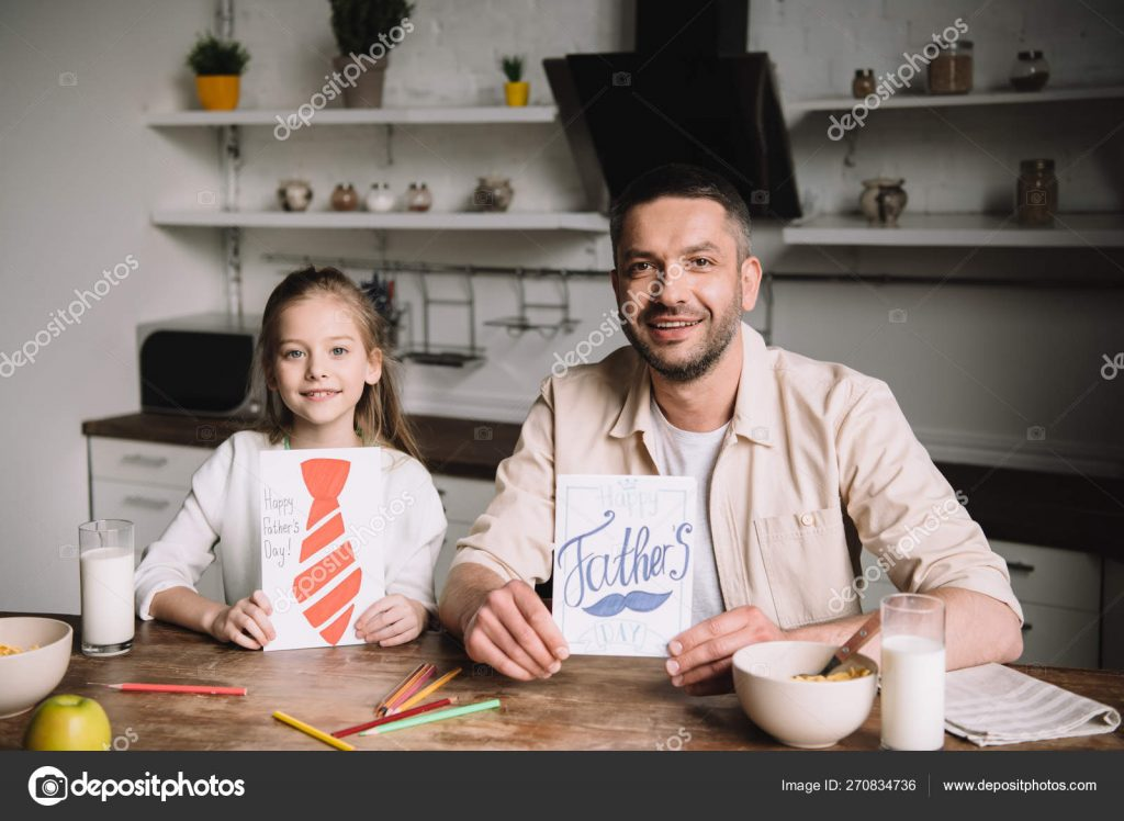 130+ Best Free Happy Fathers Day Graphics 2020: Images, Clipart, Fonts - depositphotos 270834736 stock photo happy dad adorable daughter showing