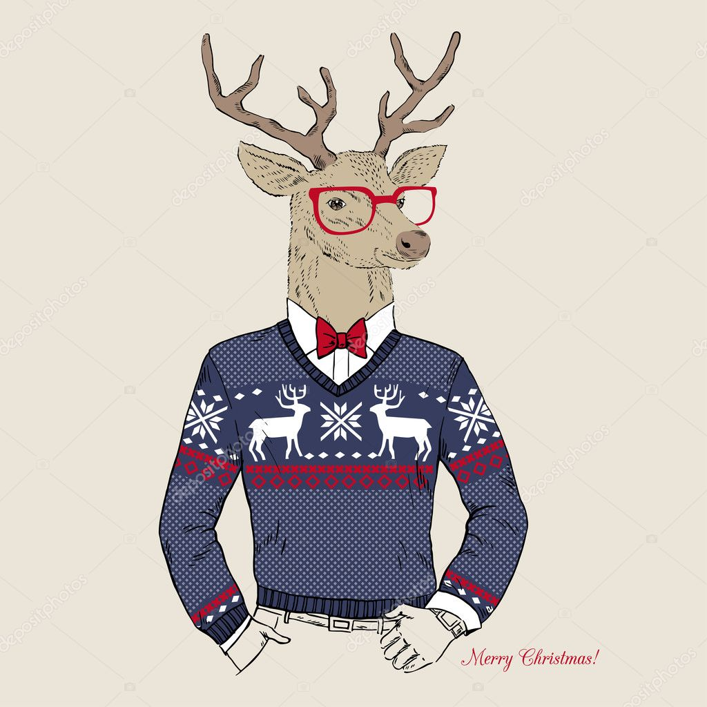 600+ Best Free Merry Christmas Images & New Year Pictures 2021 - depositphotos 33401081 stock illustration deer hipster in jacquard sweater