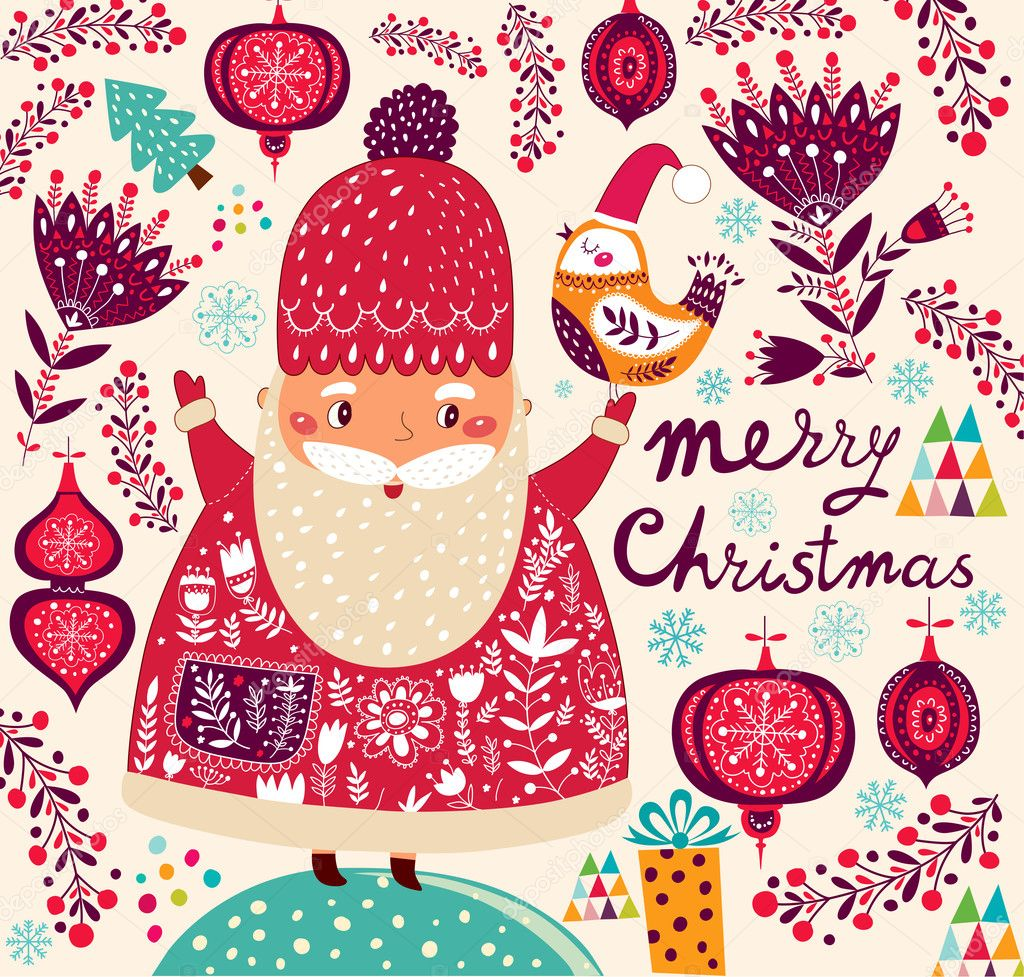 600+ Best Free Merry Christmas Images & New Year Pictures 2021 - depositphotos 34055941 stock illustration merry christmas card with santa