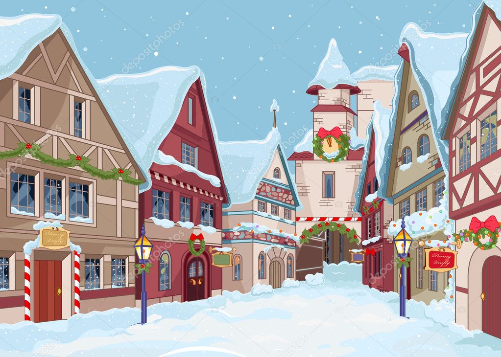 100 Winter Backgrounds: Prepare Your Designs for the Winter Season - depositphotos 35885687 stock illustration christmas town