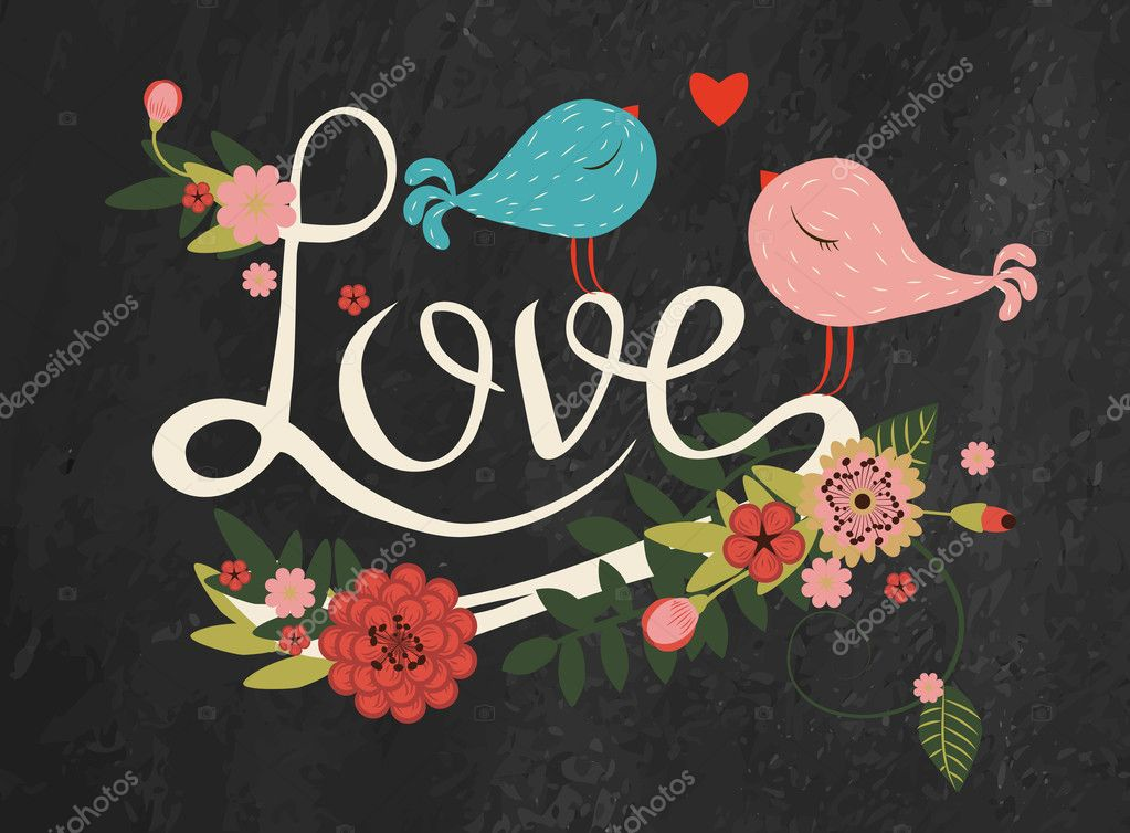 1000+ Free Happy Valentines Day Images - depositphotos 40203643 stock illustration letters love with floral decor