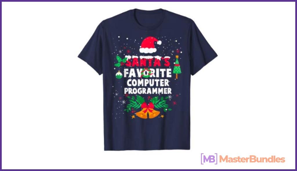 Santa's Favorite Computer Programmer Christmas Xmas Gift T-Shirt.