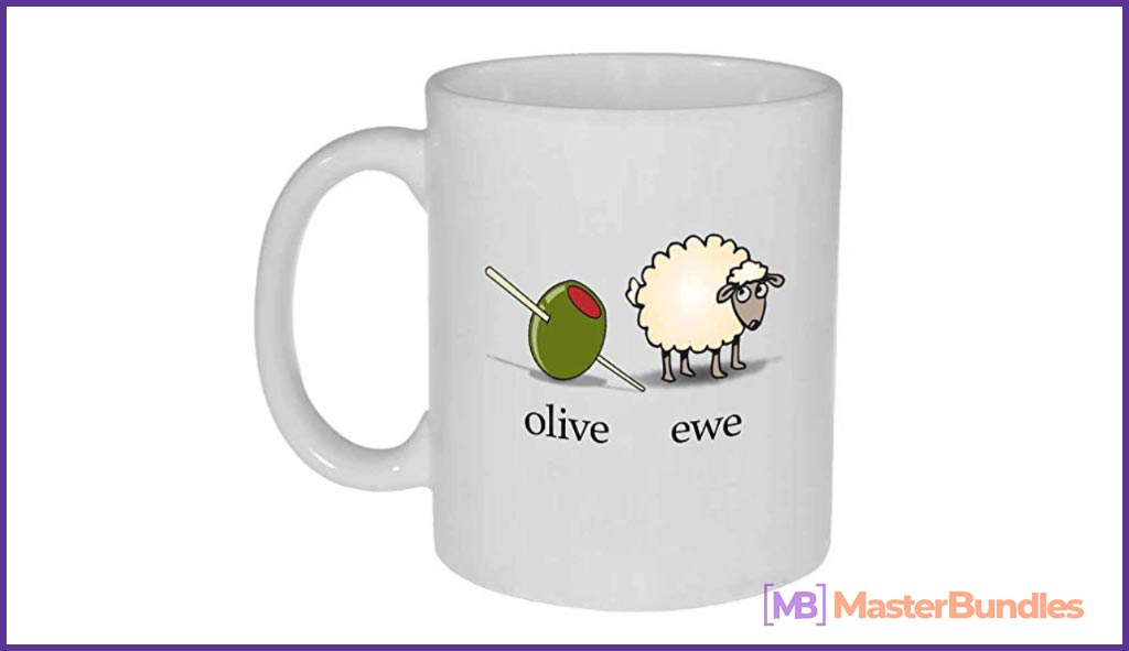 Olive Ewe I Love You Funny White Ceramic Coffee or Tea Mug. Valentine's Day Gifts for Photographers