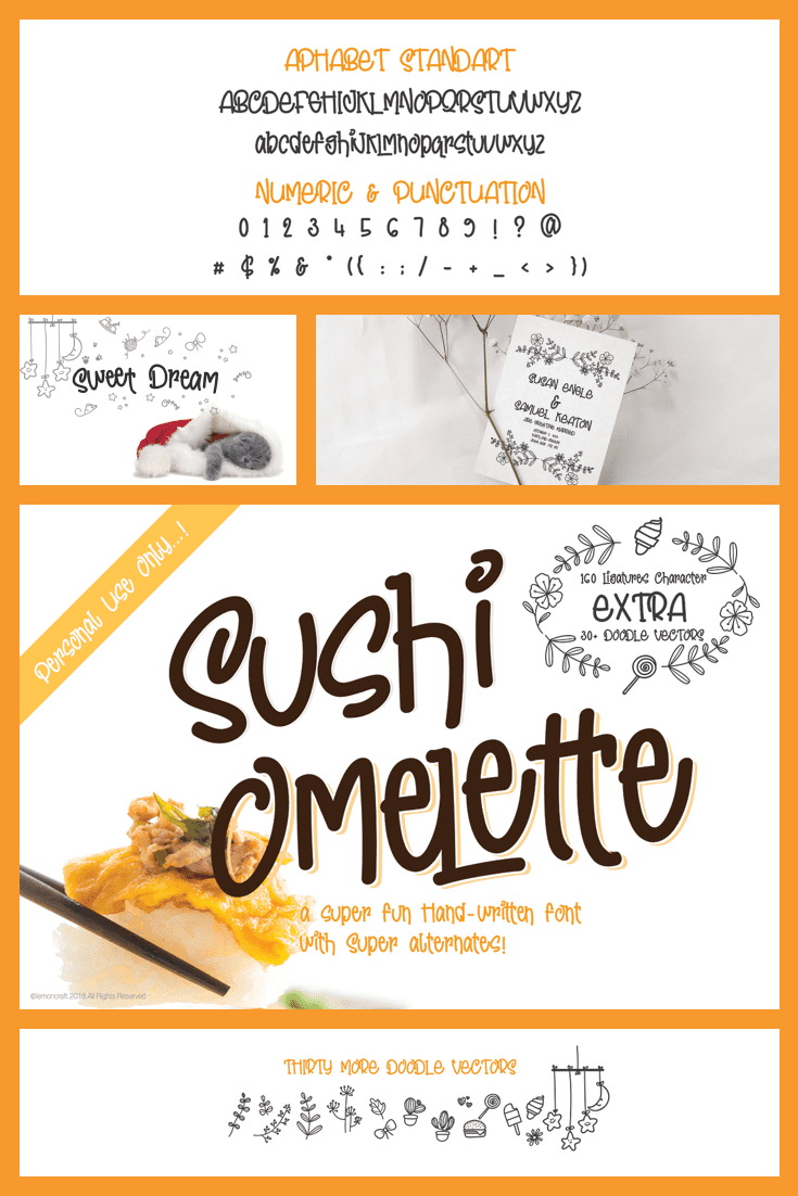 Sushi on a collage with white background and a script fun font.