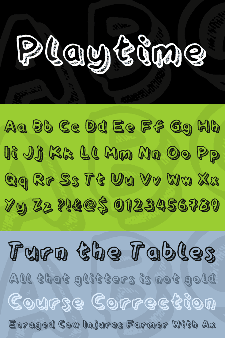 A display fun font on black, green and grey background.