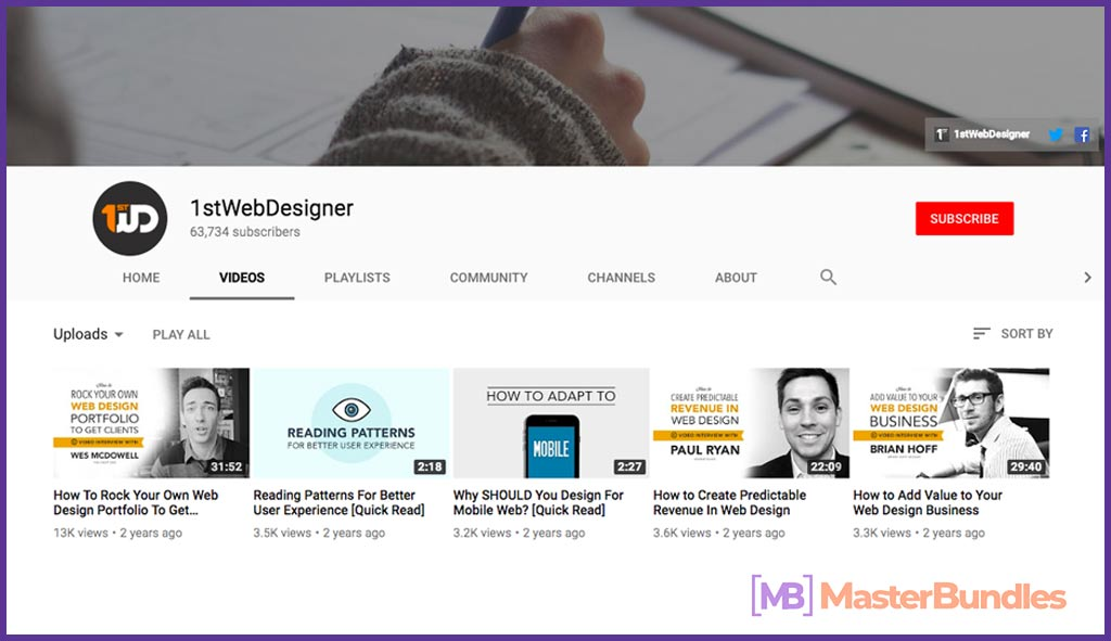 70 YouTube Channels For Learning Web Design in 2020 - 1stwebdesigner 2