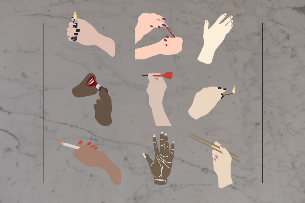 Female hands with various attributes.