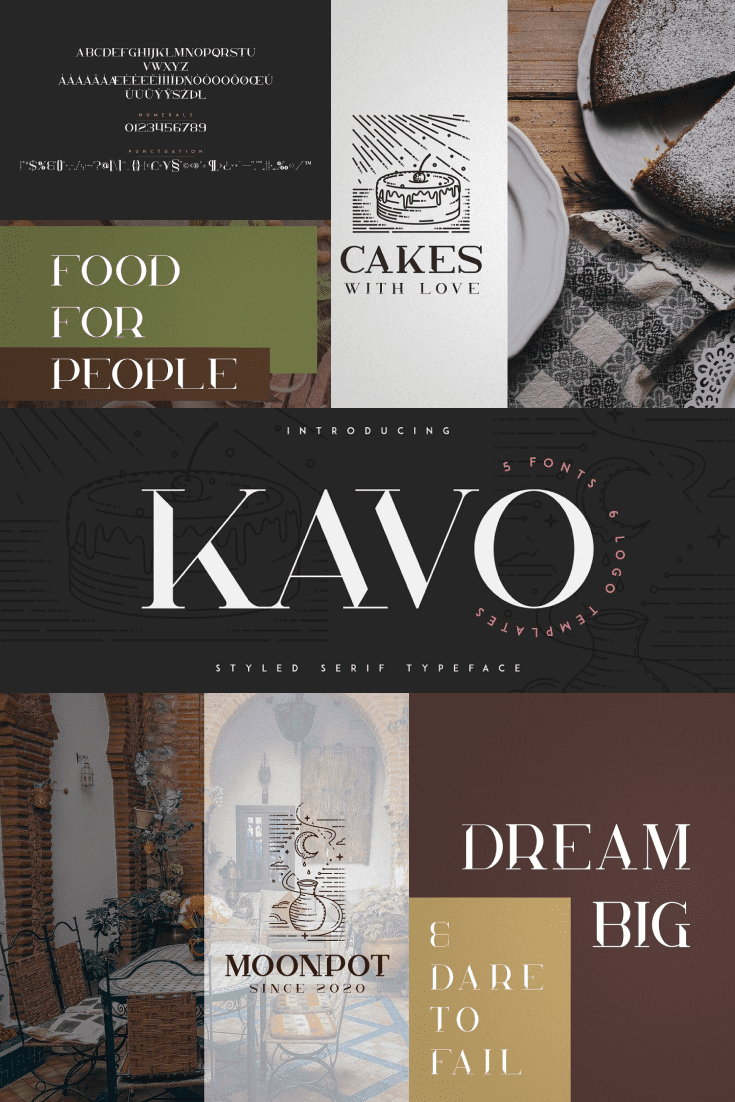 Serif fun font on grey, brown and pastel background.