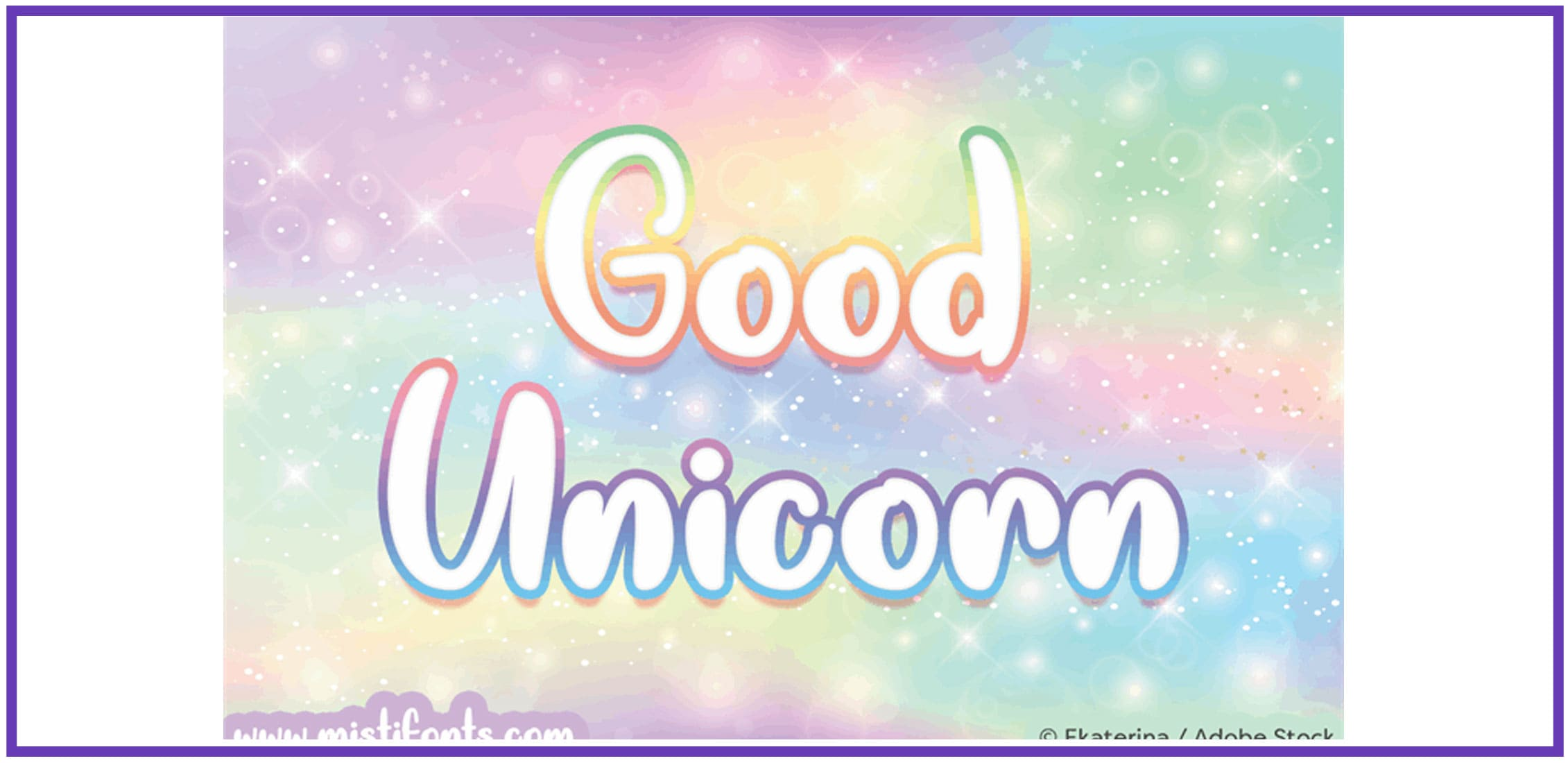 A multicolor rimmed fun font on multicolour background.