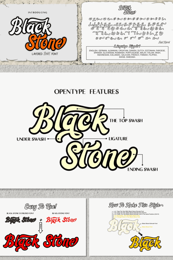 Examples of a display fun font on a light background.