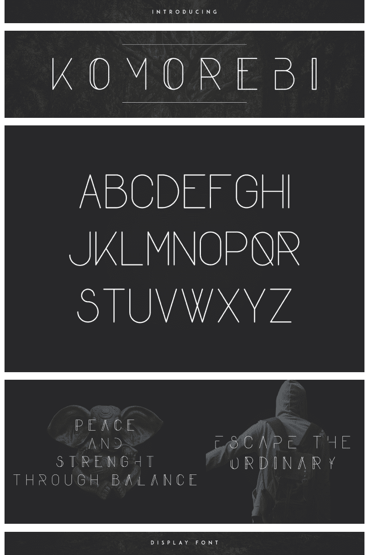 A display fun font on black background with Ganesha and a man with a backpack.
