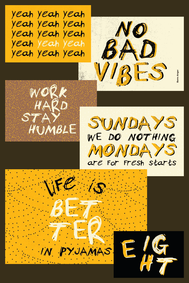 An accidental fun font on yellow, brown, and pastel rectangles of collage.
