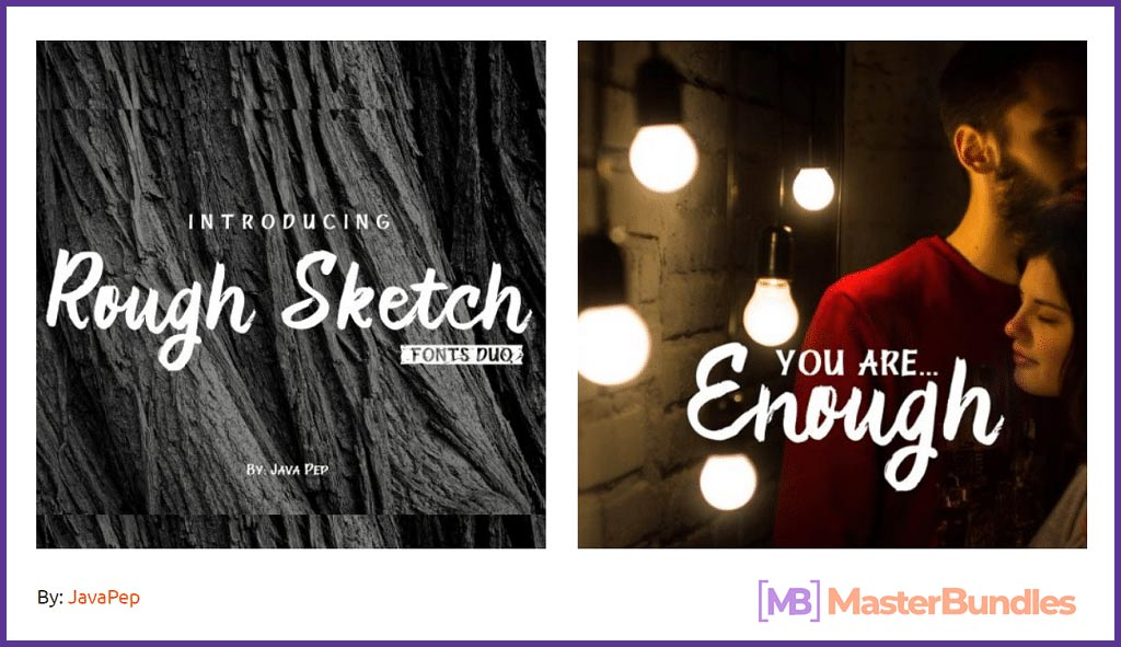 "Handwritten brush font ""Rough Sketch – fonts duo"""