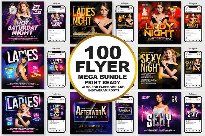 100 Party Flyers Bundle Print Ready - $22 - Main Preview