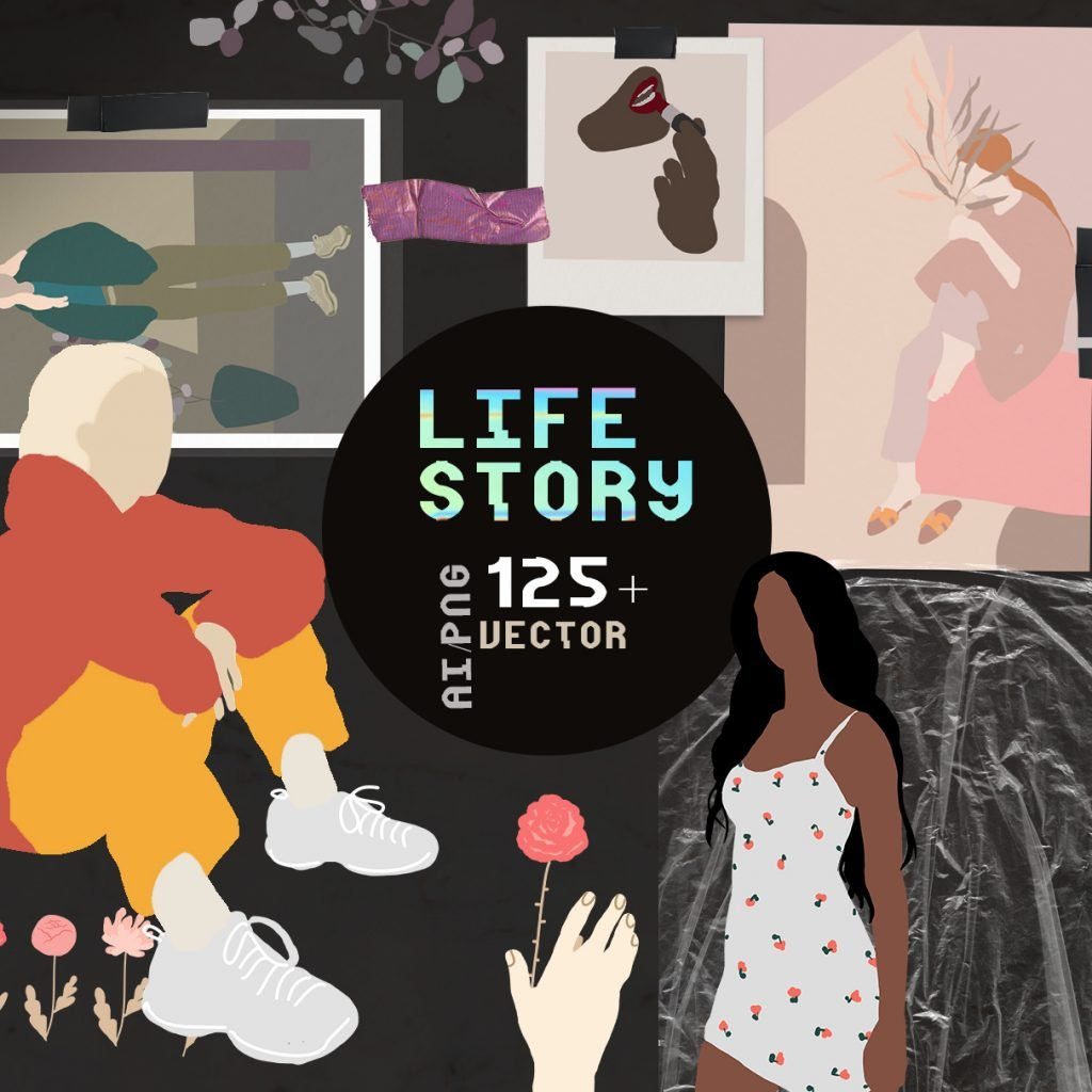 Life Story Abstract Illustrations Set Example.