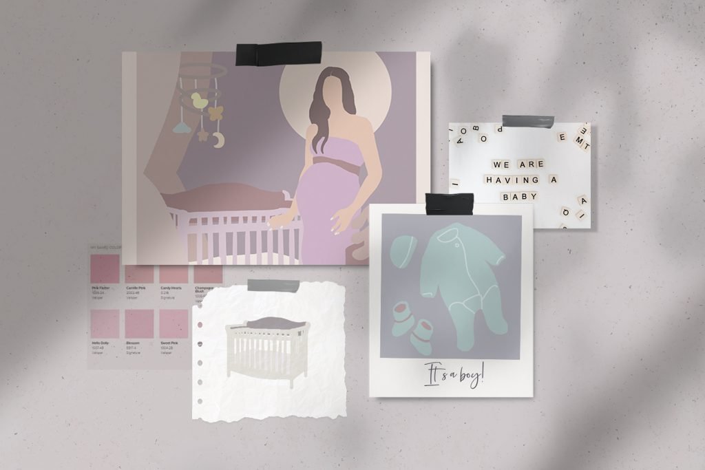 Pastel colors in photographs and magazine scraps.