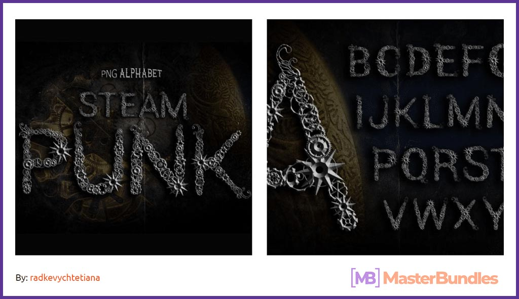 Steampunk Alphabet Font.