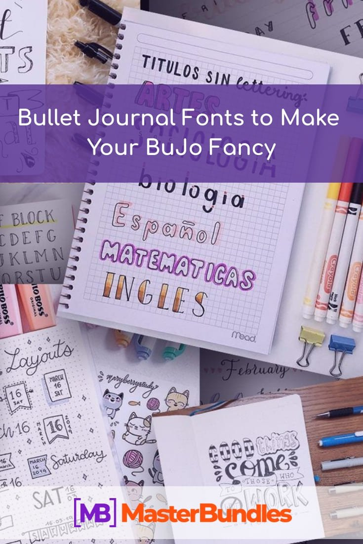 Best Bullet Journal Fonts Collection. Pinterest Image.