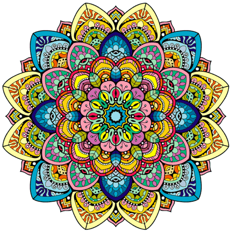 This is a vast, vibrant and original mandala. It contains a triangle, an eye and flowers.