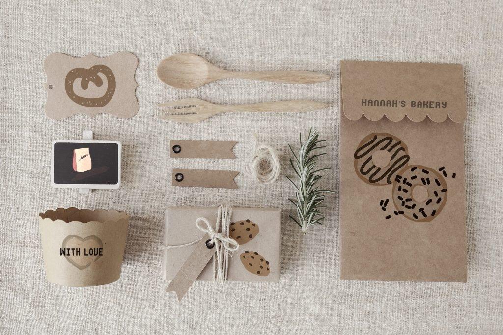 Bakery set on gingham paper.