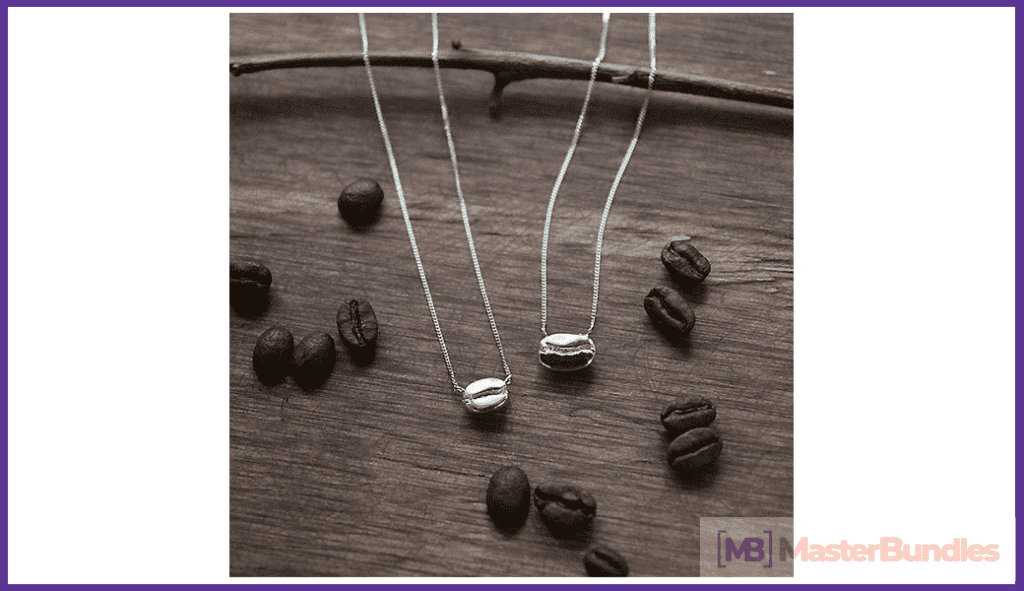 Silver pendants in the shape of a coffee bean.