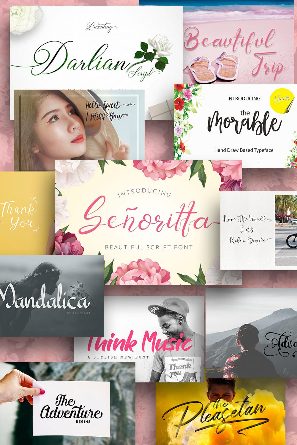 Best Girly Fonts Collection. Pinterest Image.