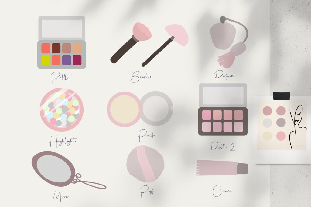 Illustrations to describe the attributes for female beauty.