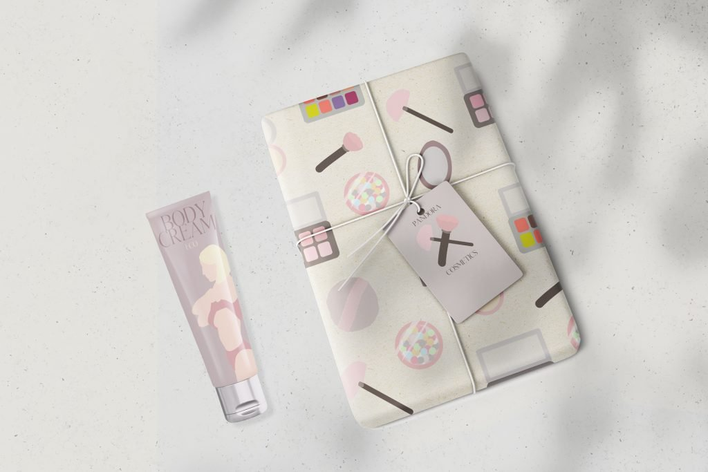 Wrapping paper with graphics for female beauty.