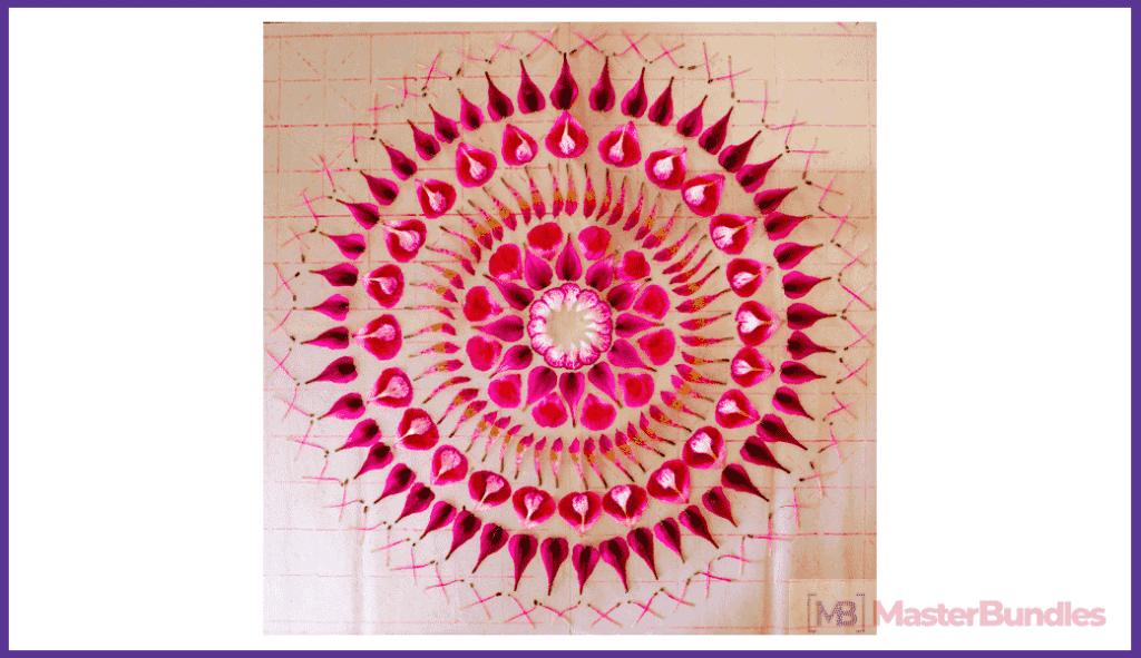 Mandala made of flower petals.