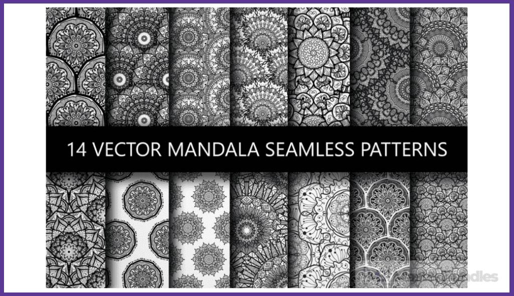 14 Black White Mandala Seamless Patterns.