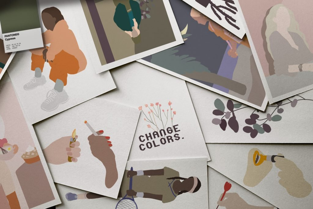These illustrations look very stylish and modern.