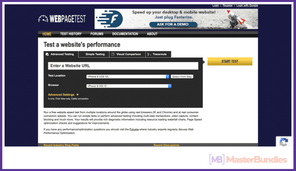 WEBPAGETEST. Page Speed: Mobile and Desktop.