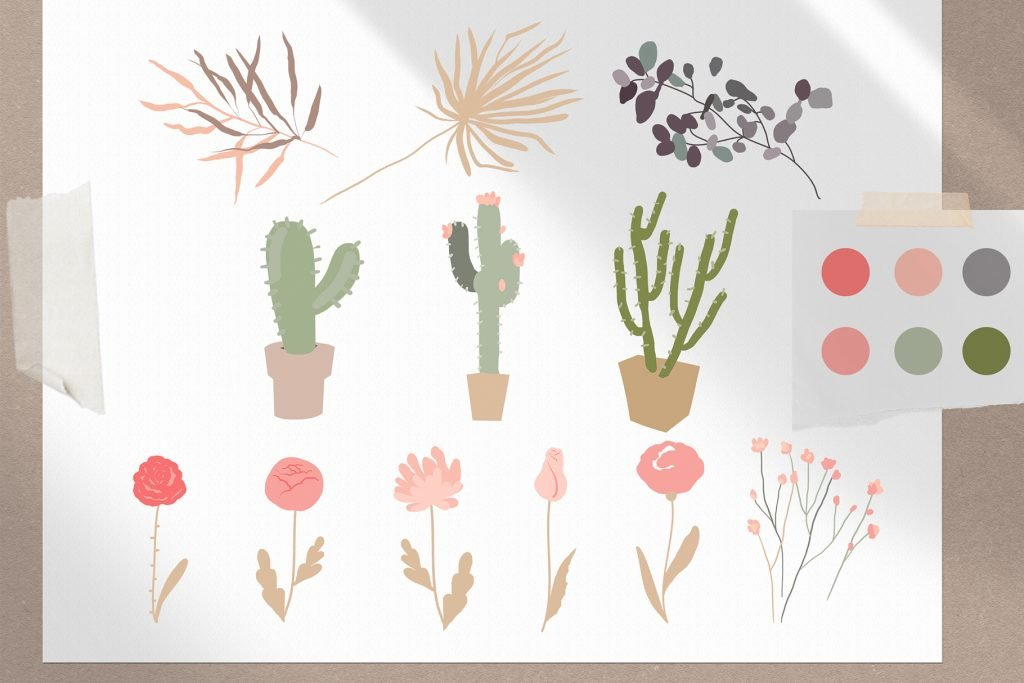 Elements complementing the composition in the form of flowers and cacti.