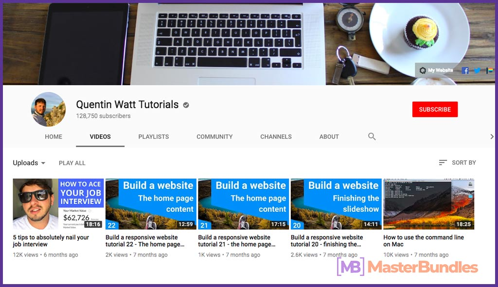 70 YouTube Channels For Learning Web Design in 2020 - quentin watt tutorials 44