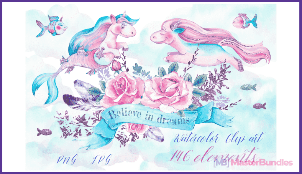 45+ Best Unicorn Clipart Elements in 2020: For those who Believe in Miracles - unicorn clipart 3