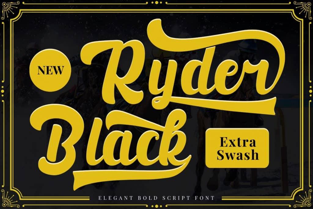 Black Ryder - Bold Script Font - $3 - 1 min